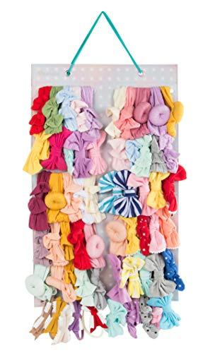 Hanging Baby Girl Headbands Storage Organizer, Newborn Headbands and Bows Holder(Large 12 Snap Band,Polka Dots)