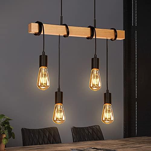 Albrillo Lámpara colgante vintage de diseño industrial, 4 focos, lámpara de techo retro, metal y madera, E27, máx. 40 W, altura regulable, lámpara retro para comedor, cocina, salón, bar o restaurante