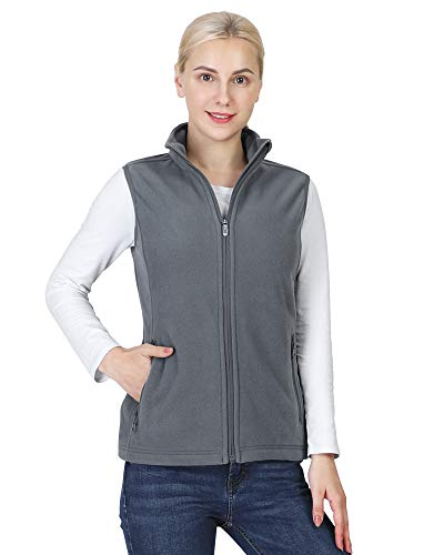 Outdoor Ventures Women's Polar Fleece Zip Vest Outerwear with Pockets,Warm Sleeveless Coat Vest for Fall & Winter Dark Grey