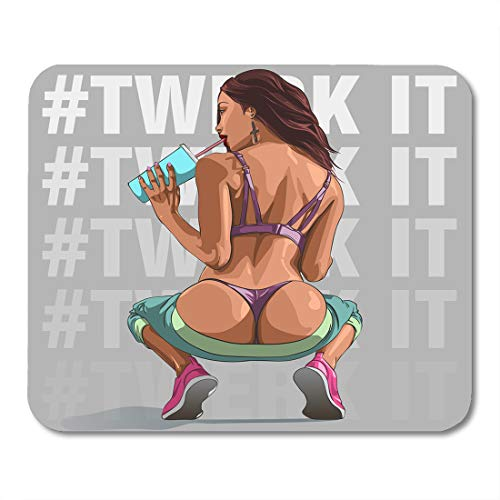 Boszina Mouse Pads Erotic White Girl Sexy Young Woman Squatting with Bare Ass Swag Booty Mouse Pad 9.5' x 7.9' for Notebooks,Desktop Computers Mouse Mats, Office Supplies