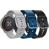 MoKo Correa Compatible con Galaxy Watch 3 41mm/Galaxy Watch Active/Active 2/Galaxy Watch 42mm/Huawei Watch GT 2 42mm/Garmin Vivoactive 3/Ticwatch E, [3-Pack] 20mm Pulsera - Gris y Azul Oscuro y Negro