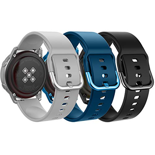 MoKo Band Compatible with Samsung Galaxy Watch Active/Active 2/Galaxy Watch 42mm/Gear S2 Classic/Gear Sport/Garmin Vivoactive 3, [3-PACK] Soft Silicone Replacement Sport Strap - Gray&Dark Blue&Black