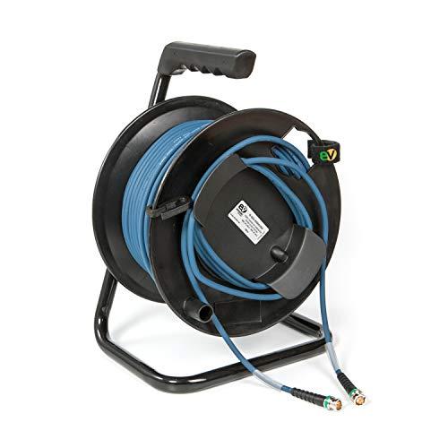 Emelec VíasCom R-SDI-3006A/050 – 50 m Video-Kabel 4K-UHD 12G-SDI (0.8/3.75/6.0) montiert auf Kabelhalter mit BNC 4K-UHD – einseitiger Leiter – Farbe Blau – Flexibles PVC