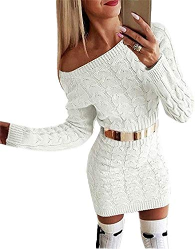 Flying Rabbit Damen Langarm PulloverKleid Damen Strickkleid Schulterfrei Rundhals Einfarbige Flim Partykleid Warmer Pullover Kleider Elegantes Midikleid (wh,s)