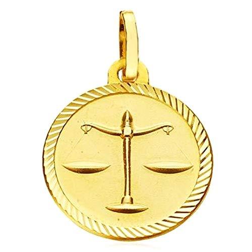 18k Goldmedaille Waage Horoskop 20 mm. Tierkreis geschnitzt Zaun Zeichen - kundengerecht - AUFNAHME IN PREIS ENTHALTEN