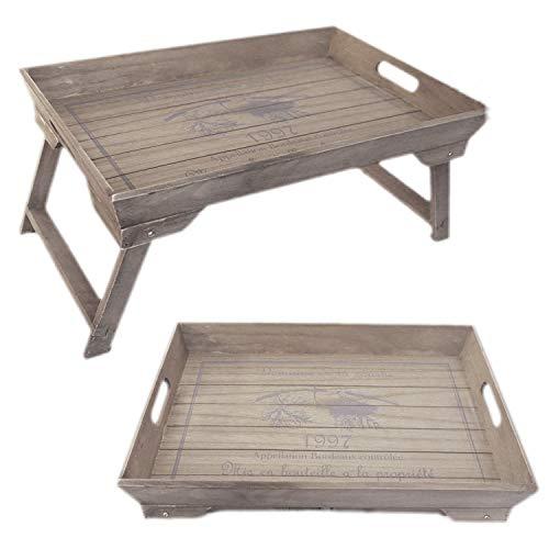 LS-LebenStil Vintage Holz Betttablett klappbar 48cm Grau Braun Frühstückstablett
