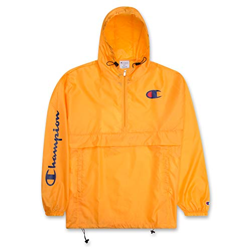 Champion Jacket Mens Big and Tall Hoodie Anorak Windbreaker Men Rain Jacket Gold XLT