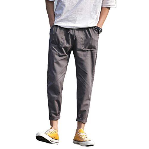 Pantalones Casuales de Color slido para Hombre, cmodos, Transpirables, Informales, de Nueve Puntos, con cordn y Bolsillos 4X-Large