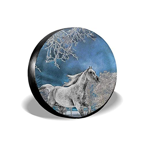 Xhayo Cubierta universal de repuesto para neumáticos de caballos y nieve, resistente al agua, a prueba de polvo, para remolques, RV, SUV y muchos vehículos (negro, diámetro 14-17 pulgadas)