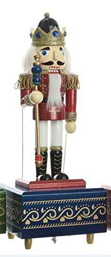 Hochwertige & Weihnachtliche Spieldose/Spieluhr - Nussknacker - König Dekofigur - Handbemalte Deko Figur mit Musik/Nussknackerfigur - Weihnachten/Weihnachtsdeko (Modell B: Zepter)