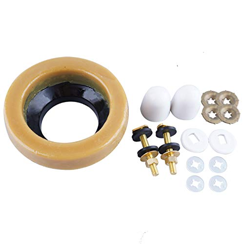 Toilet Wax Ring Kit, Toilet Bowl Wax Ring with Brass Closet Bolts, Bolt Caps, PE Flange and Extra Retainers, Thick Wax Ring Gasket for Toilet Bowl- Gas, Odor and Watertight Seal