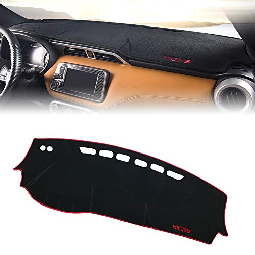 PGONE Custom Fit Dashboard Black Center Console Cover Dash Mat Protector Sunshield Cover Pad Carpet for Nissan Kicks 2017 2018 2019 (Red)