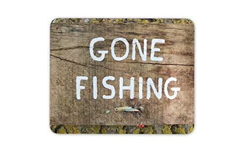 Alfombrilla para ratón Gone Fishing - Firmar Fish Dad Fly Regalo para Ordenador del día del Padre