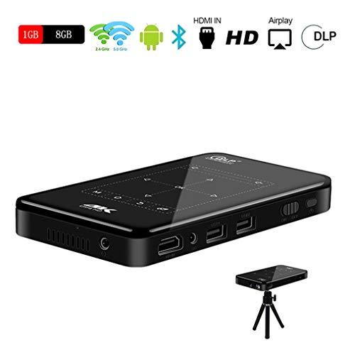SHENGY 4K mini mobiele thuisbioscoop projector, 120 inch BT4.1 HD touch-telefoon projector, WiFi 2.4/5G, met infrarood afstandsbediening en driehoekige houder