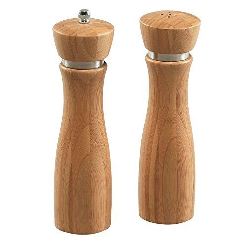 EQT-TEC Salz und Pfefferstreuer aus hochwertigem Bambus Pfeffermühle Salzstreuer Salzmühle Set