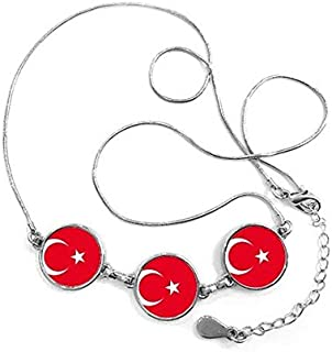 a7f139deb8671 DIYthinker Drapeau National Turquie Asie Pays Symbole Motif Mark Forme Rond  Collier Pendentif