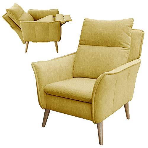 place to be. Relaxsessel XXL mit Motor Fernsehsessel mit Liegefunktion und Schlaffunktion TV-Sessel Wohnzimmer Gelb M14023 mit Fleckschutz Buche massiv