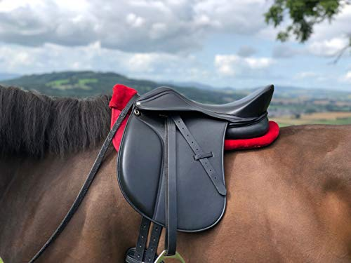 Easytrek Dressur-Sattel / VSD-Sattel aus Leder, baumlos, flexibel, schwarz oder braun (40,6 cm Sitz, schwarz)