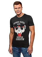 oodji Ultra Hombre Camiseta de Algodón con Estampado Papá Noel