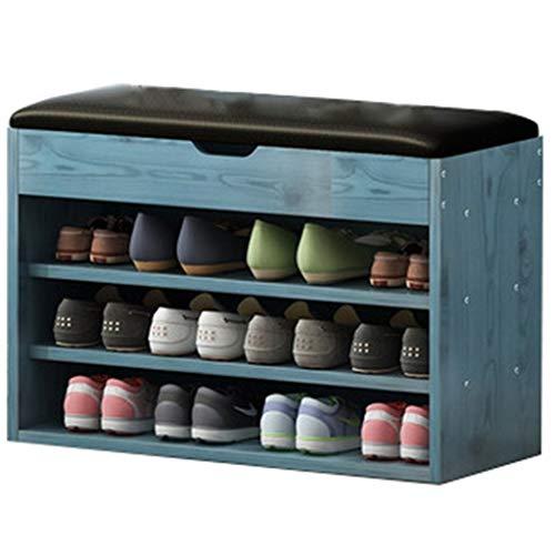 Bancos con cajones banco de zapatos Baúl Botas Banco Almacenamiento De Zapatos Baúl Tapizado Zapatero Con Asiento Banco Zapatero Blanco Organizador Para Zapatos ( Color : Blue , Size : 80*30*53cm )