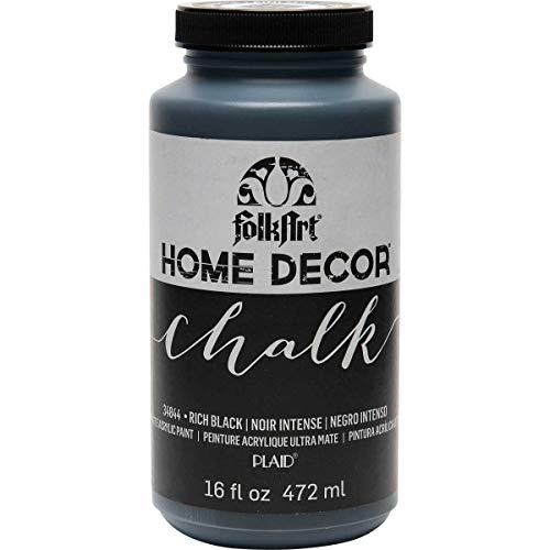 FolkArt Home Decor Chalk Furniture & Craft Paint in Assorted Colors, 16 ounce, Rich Black
