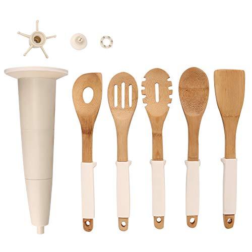 Borlai Utensilios de Cocina de Bambú Cuchara de Espátula con Asas de Silicona para Cocina en Casa