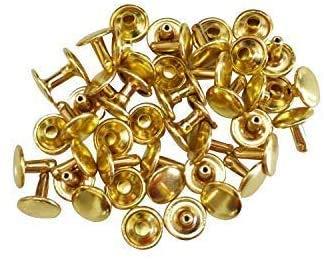 Trimming Shop Paquete de 100 Piezas 12mm Doble Tapa Remaches Tubulares De Piel Manualidades Pendientes Dorado