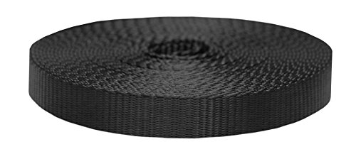 Strapworks Colored Flat Nylon Webbing - Strap For Arts And Crafts, Dog Leashes, Outdoor Activities - 1 Inch x 10 Yards, Black