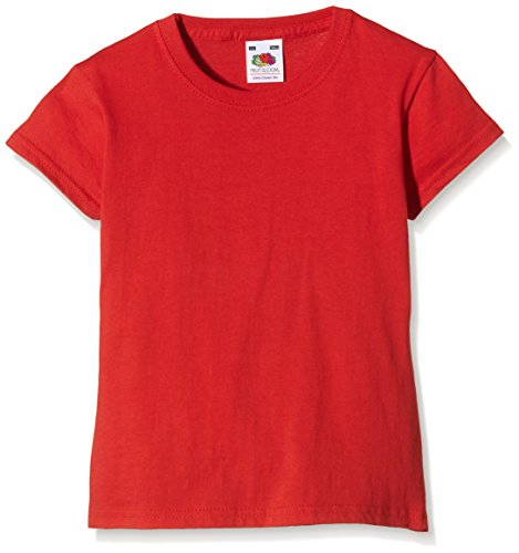 Fruit of the Loom Mädchen Valueweight T-Shirt, Rot (Red 40), Gr. 9-11 Jahre (140 cm)