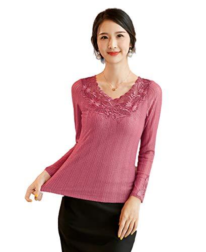 VEACARAS Blusa de gasa de manga larga de encaje con diseño de mariposa, bordado de seda brillante, Rosado, 0-2