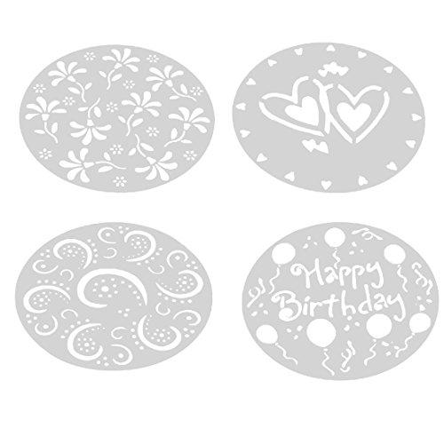 joyliveCY Plantilla redonda para decoración de tartas con azúcar con dibujos de corazón y flores, juego de 4 unidades