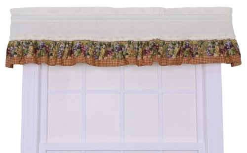 Ellis Curtain Kitchen Collection Tuscan Hills Grapes Ruffled Valance, Natural