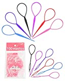 Topsy Tail Hair Tool, 12 Pcs Hair Accessories for Woman with 100 Pcs Hair Elastics, Colorful Hair Accessories for Girls by MoHern