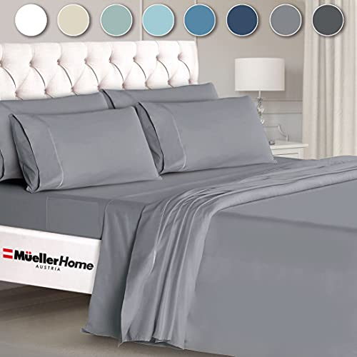 Mueller Ultratemp Bed Sheets Set, Super Soft 1800 Thread Count Egyptian 18-24 Inch Deep Pocket Sheets, Transfers Heat, Breathes Better, Hypoallergenic, Wrinkle, 6Pc, Light Gray King