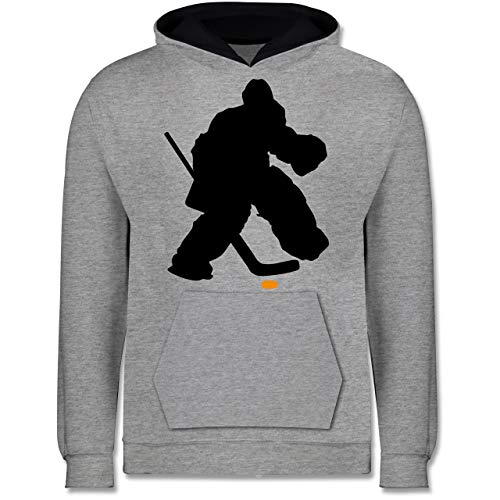 Sport Kind - Eishockeytorwart Towart Eishockey - 152 (12/13 Jahre) - Grau meliert/Navy Blau - Eishockey - JH003K - Kinder Kontrast Hoodie