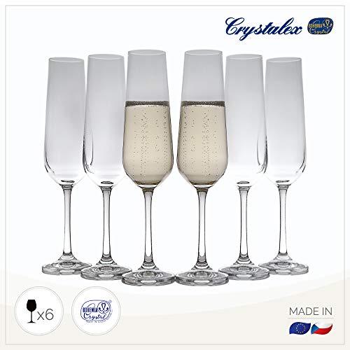 Cristallo champagne flutes (set of 6), altezza:, matrimonio, sposa–Made in Europe, 192,8gram