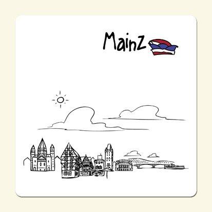 die stadtmeister Untersetzer Skyline Mainz (weiß) - als Geschenk für Meenzer & Fans der Domstadt oder als Mainz Souvenir