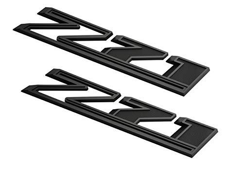 2Pcs Big Z71 Emblems 3D Badge Passenger Side Fender Decals Replacement for 2019-2021 Silverado 1500 2500 3500 HD (Matte Black)