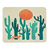 Wozukia Desert Fox Mouse Pad Walk Under Sun Cactus Green Red Mouse Mat Non-Slip Rubber Gaming Mousepad Rectangle Mouse Pads for Computers Laptop 9.5x7.9 Inch