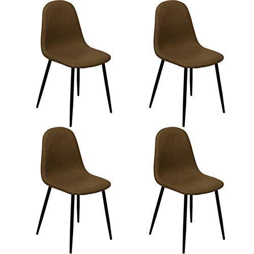 Nimara 4-delige set eetkamerstoelen met lederen bekleding | stoel met lederlook stoelen voor de eetkamer en woonkamer in retro design | eetkamerstoelen perfect voor de eettafel | schaalstoel donkerbruin
