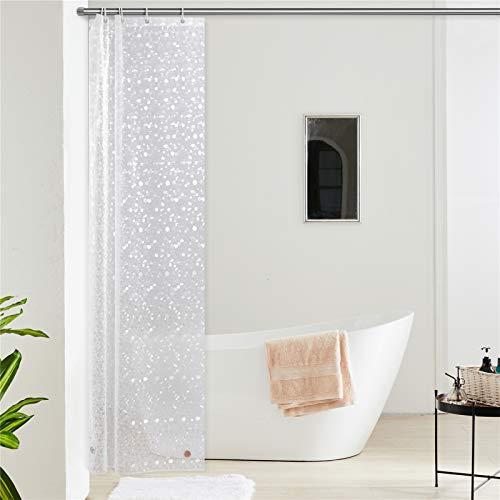 Furlinic Duschvorhang Schmal für Eck Dusche Kleine Badewanne Eva 3D Effekt Badvorhang Schimmelresistent Wasserdicht 100x200 Kieselstein mit 6 Duschvorhangringen Saum mit Steinen.