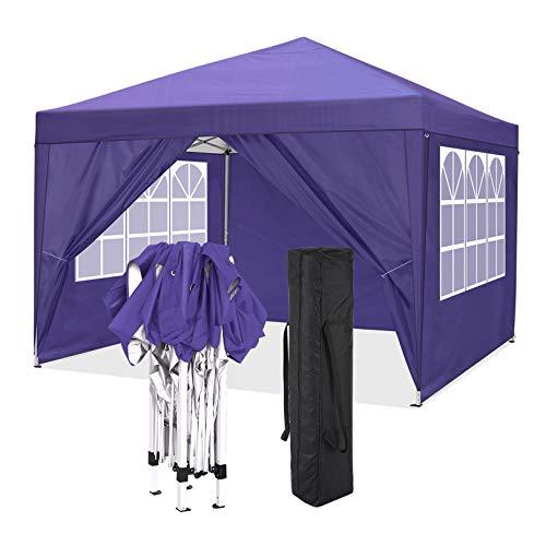 COBIZI Faltpavillon 3x3m Pop Up Pavillon Faltbar mit 4 Seitenwände | wasserdicht | UV-Schutz 50+ | Gartenpavillon Partyzelt für Garten Party Markt Picknick | inkl. Tasche (Lila)