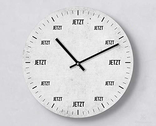 Kreative Wanduhr, Jetzt, Grau, Design Vintage Look, 30 cm, Leises Uhrwerk, Handgemacht, Ausgefallene Wanddekoration, Psychologie und Philisophie