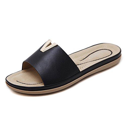 Mine Tom Minetom Mujer Peep Toe Antideslizante Chancletas Pantuflas Verano Sandalias Casual Plano Zapatillas de Playa Zapatos de Baño Negro EU 38