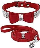 Chaleco de mascotas chaleco de perro arneses de perro plomo de perro plomo plomo rhinestone bling cuero perro gato collar y correa conjunto cristal diamantes tachonados lindo bowknot cachorro pequeño