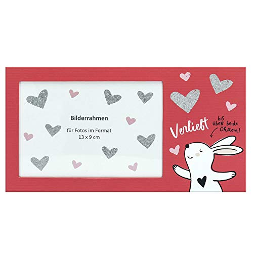 Happy Life 45340 Bilderrahmen mit Hase, Verliebt bis über beide Ohren, für Format 13 cm x 9 cm, Bilderrahmen, Rot, Weiß