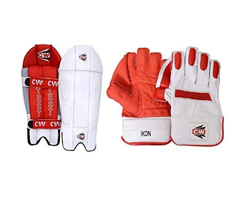 CW Armor Protective Gear Cricket for Men Full Size Wicket Keeping Gloves & Pads Combo Sports Gear Full Protection Light Weight Set Senior Kit Including Wicket Keeping Leg Guards with Gloves