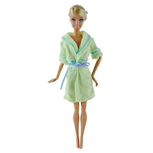 fat-catz-copy-catz Grün Puppen lang Frottee Spielzeug Bademantel-Dressing Night Bademantel Outfit nachtwäsche Made for Barbie