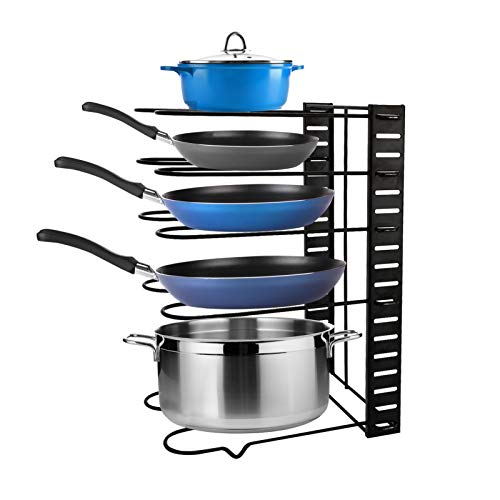 ARTISHION Adjustable Pot Rack Pot Organizer with 5 Tiers, Pot Lid Holders & Pan Rack, Holds Heavy Pots and Cookware for Kitchen Counter and Cabinet