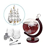 Nandae Whiskey Decanter Set Globus Karaffe 1500 ml mit 2 Gläser, Eiszange, Whiskey Steine, Glasstopfen - Schiff